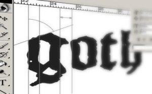 Goth-Typographie und Grufti-Logos