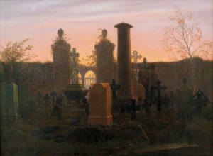 Ein Friedhof im Sonnenuntergang