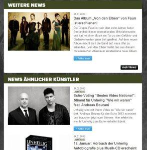 """Ein Bildschirmfoto der Universal-Seite. Ein Zufall, welche Künstler hier als """"ähnlich"""" präsentiert werden."""