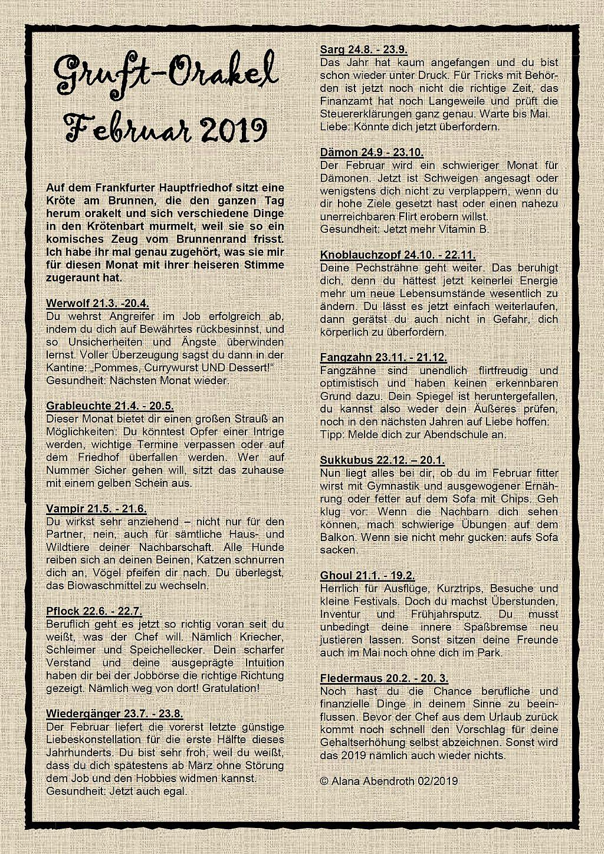 Gruft-Orakel Februar 2019