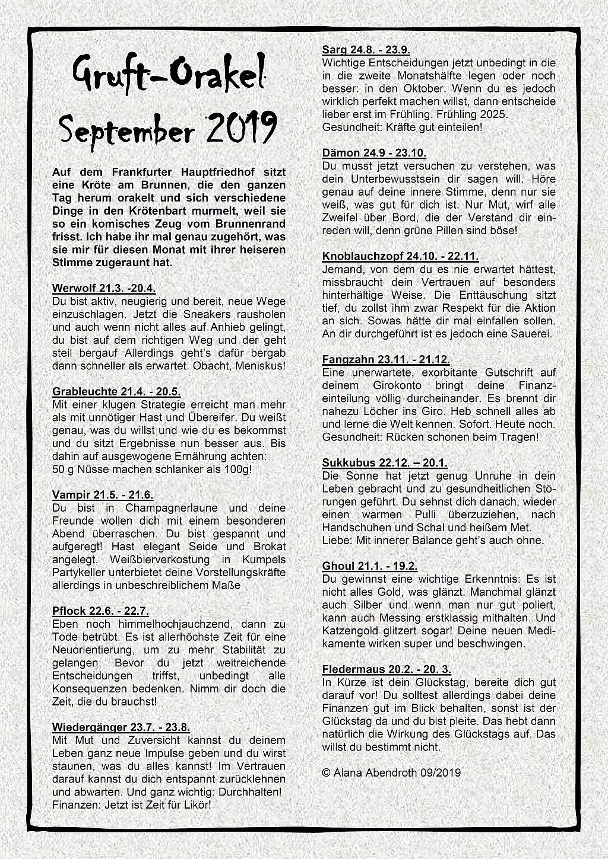 Gruft-Orakel September 2019 - Alana Abendroth