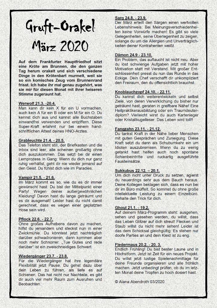 Gruft-Orakel Maerz 2020 - Alana Abendroth