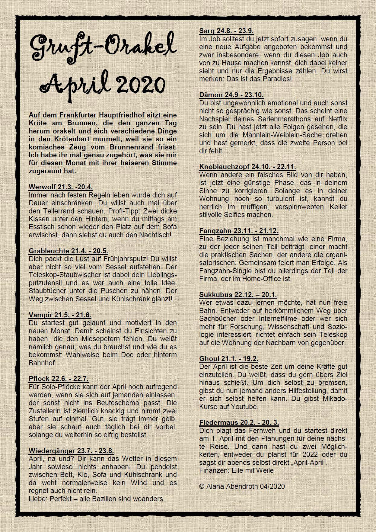 orakel mai 2020