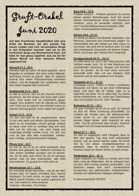 Gruft-Orakel Juni 2020 - Alana Abendroth