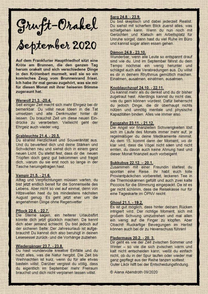 Gruft-Orakel September 2020