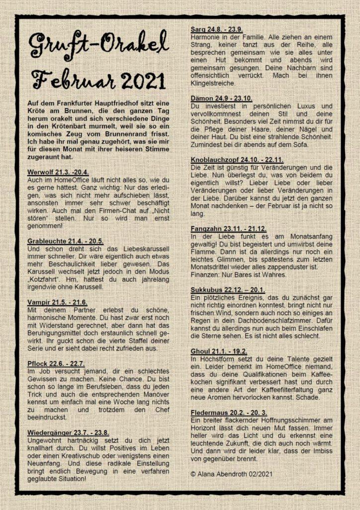 Gruft-Orakel Februar 2021 - Alana Abendroth