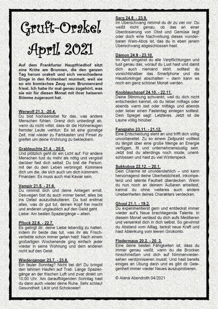 Gruft-Orakel April 2021 - Alana Abendroth