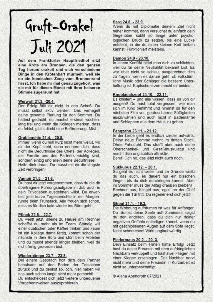 Gruft-Orakel Juli 2021 - Alana Abendroth